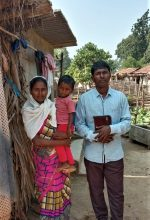 Pastor Munshi Devu Tado with wife and child in Gadchiroli District Maharashtra India. Morning Star News 150x220